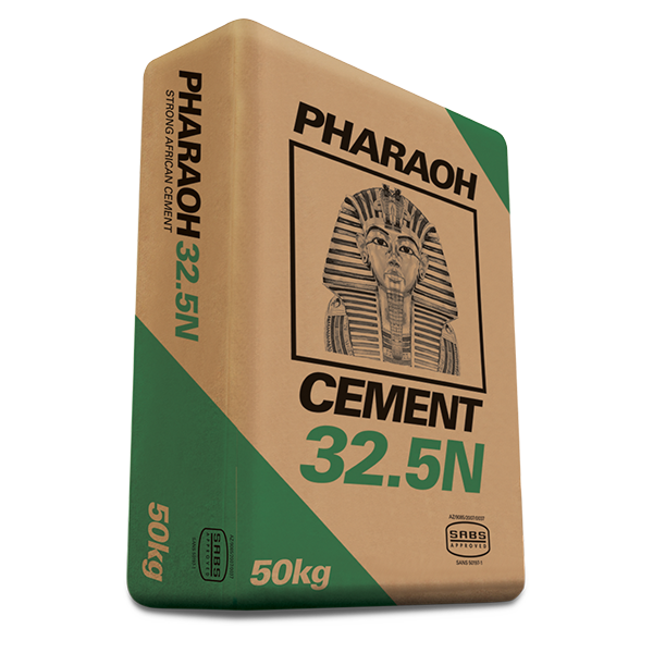 PHARAOH CEMENT 32.5R – general purpose construction cement for brick laying, plaster, screeding and general building work, 50kg bag