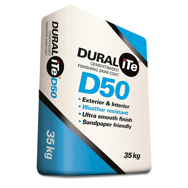 DURALiTE D50 – Cement Based Finishing Skim Coat, 35kg bag