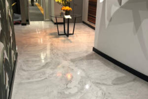 iTe Cemox decorative screed finish applied to the entrance hall of a high-end office space